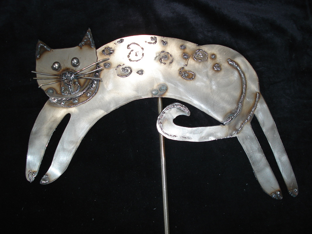 $45   Leaping Cat Metal Garden Stake